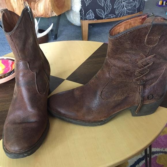 c7f64965385d Born Shoes - Born ankle Boots Brown leather Sz 9.5 lace Detail